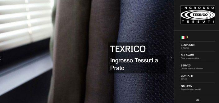 """Pagina realizzazione sito web """"Texrico vendita tessuti a stock"""""""
